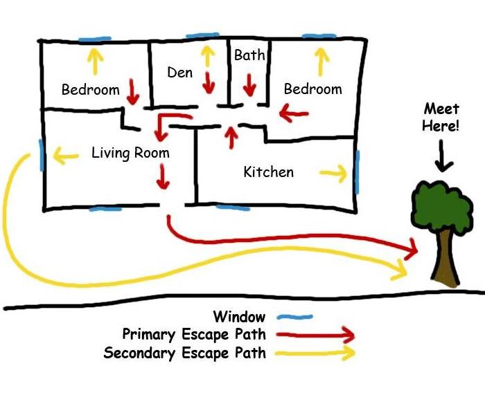 Picture shows a hand drawn map of an escape plan.